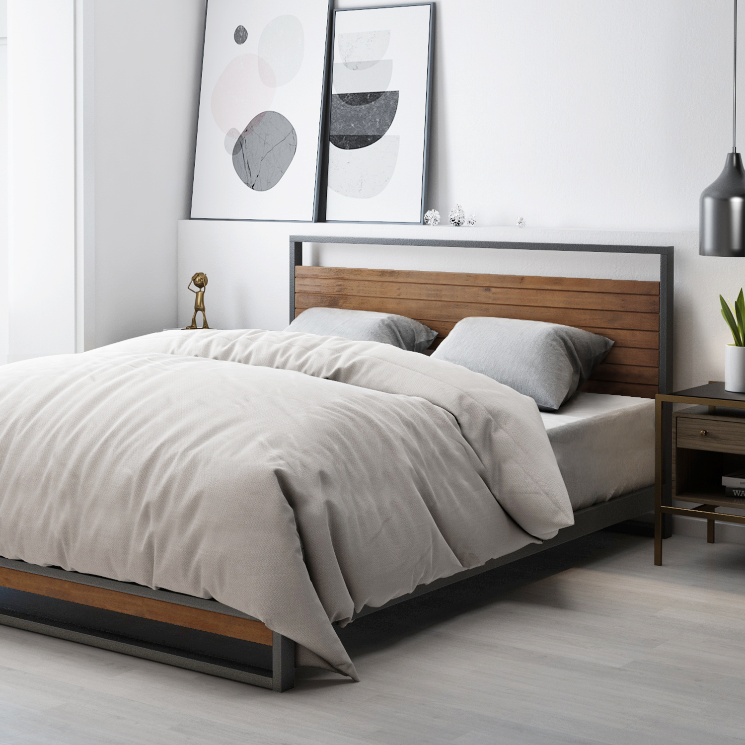 Zinus-Ironline-Metal-Wood-Bed-Frame-Queen-Single-Double-King-Base-Mattress-Pine thumbnail 3