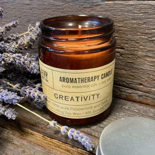 aromatherapy soy wax candle - creativity