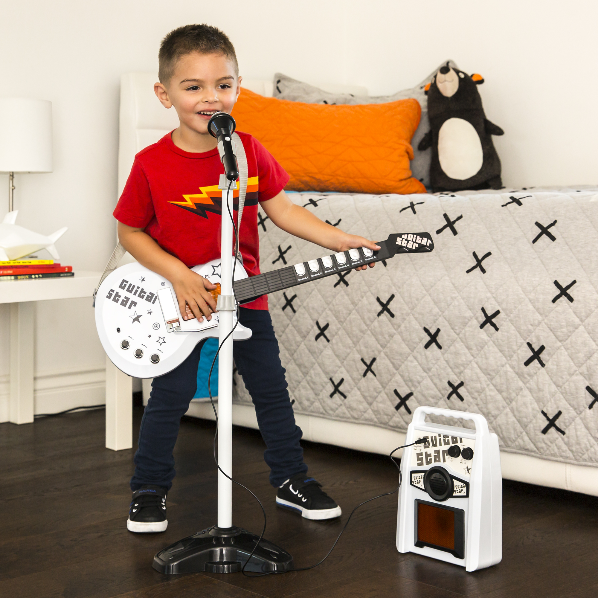 BCP-Kids-Electric-Guitar-Toy-Play-Set-w-6-Songs-Microphone-Amp thumbnail 20