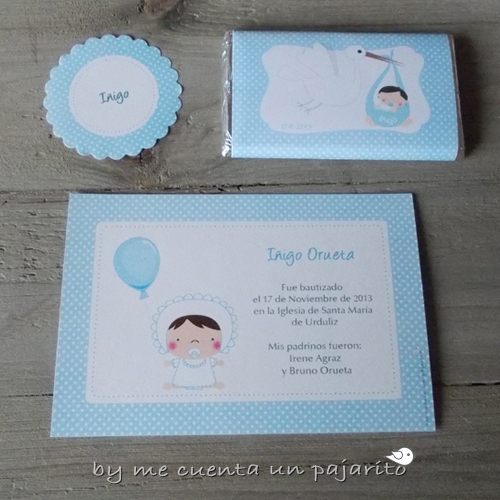 Recordatorio, pegatina y chocolatina personalizada del bautizo de Iñigo el bebe y la cigüeña