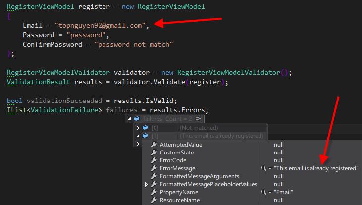 FluentValidation Debug with database