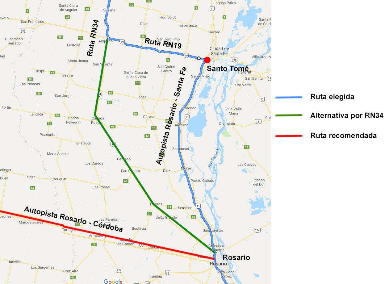 Mapa Rosario a Salta