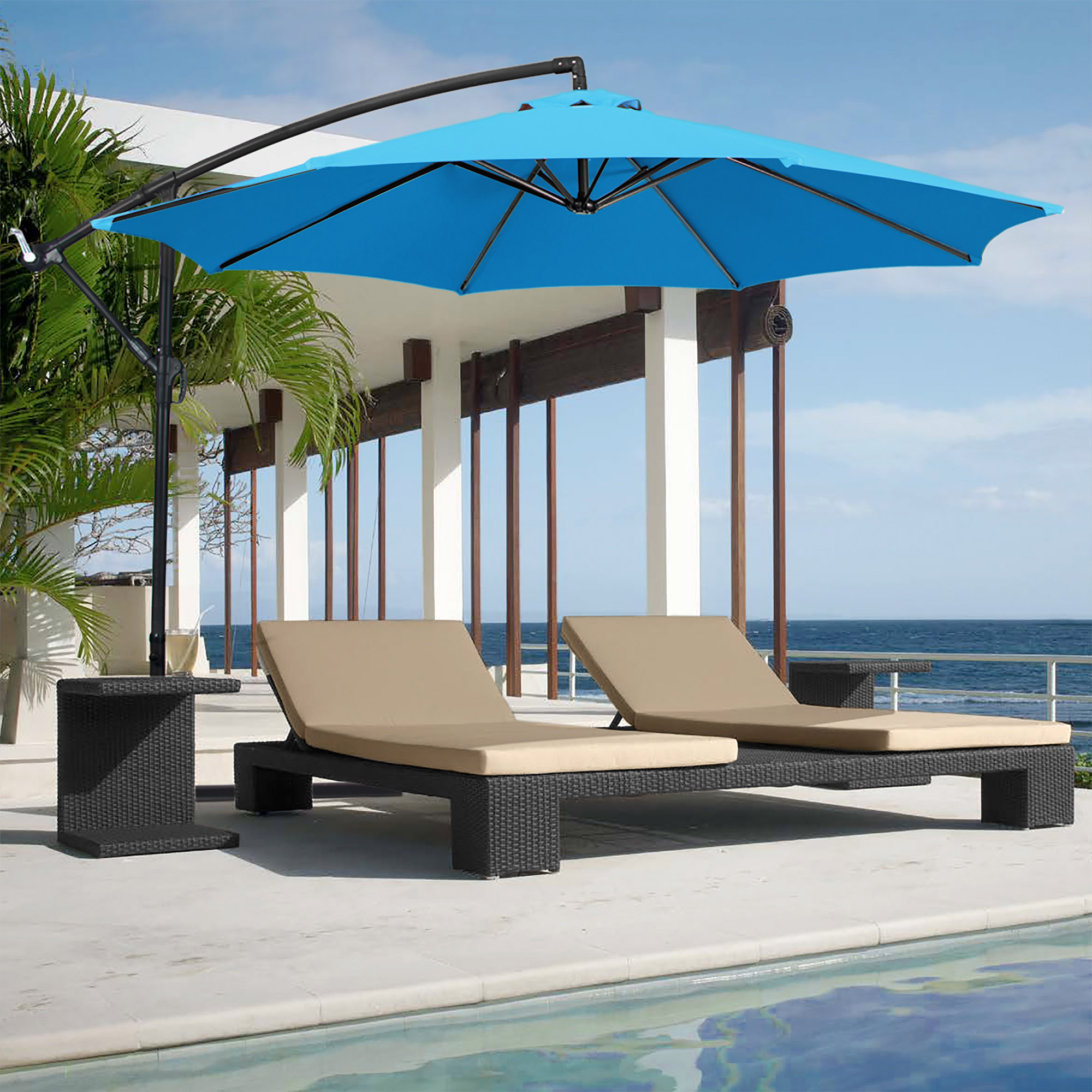 BCP-10ft-Offset-Hanging-Market-Patio-Umbrella-w-Tilt-Adjustment-Hand-Crank thumbnail 14