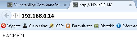 Przykład użycia poddatności command injection w PHP.