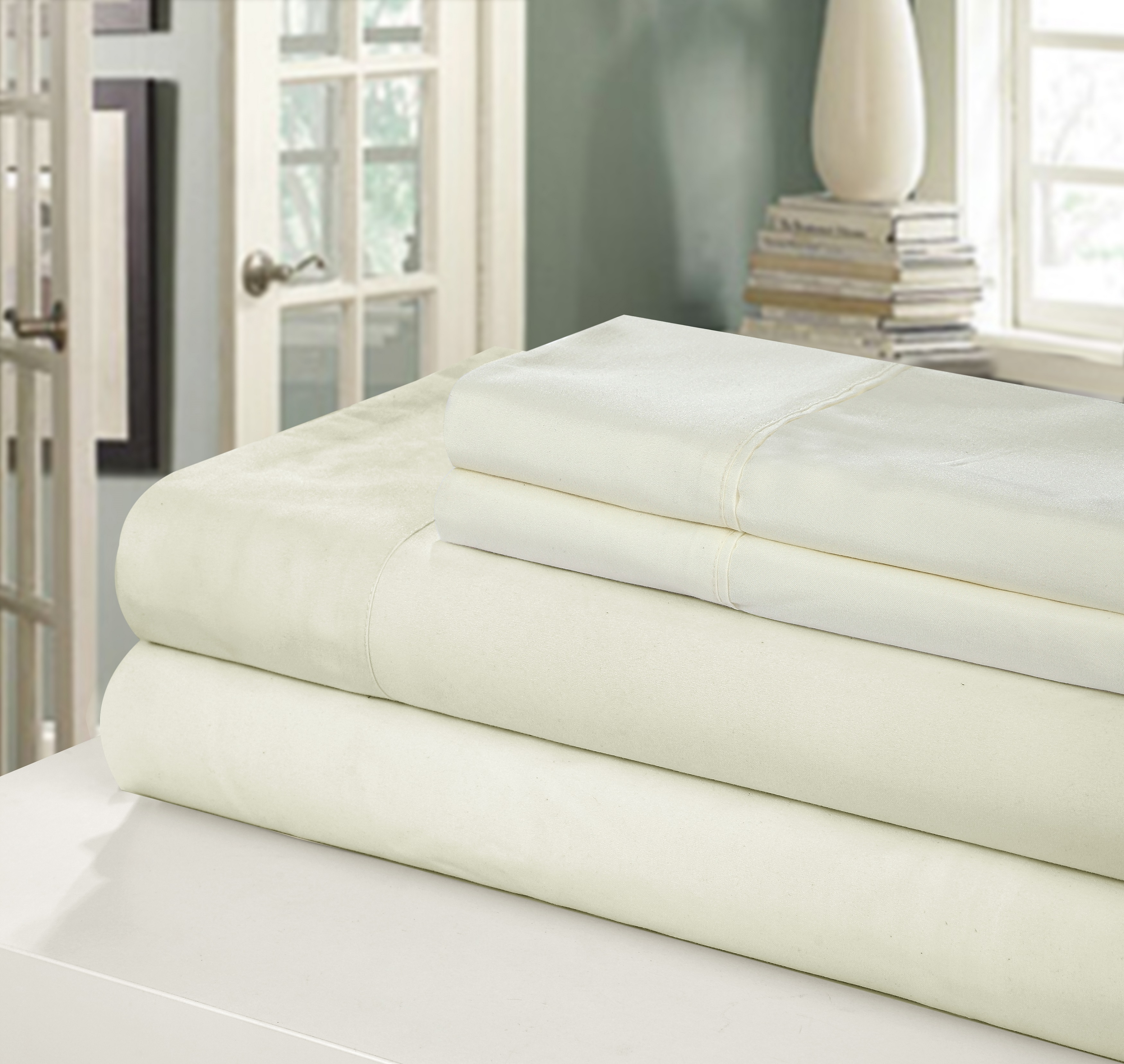 Chic Home NEW!! Chic Home 400 Series Peach Skin Microfiber 3-Piece Sheet Set Ensemble, Twin, White