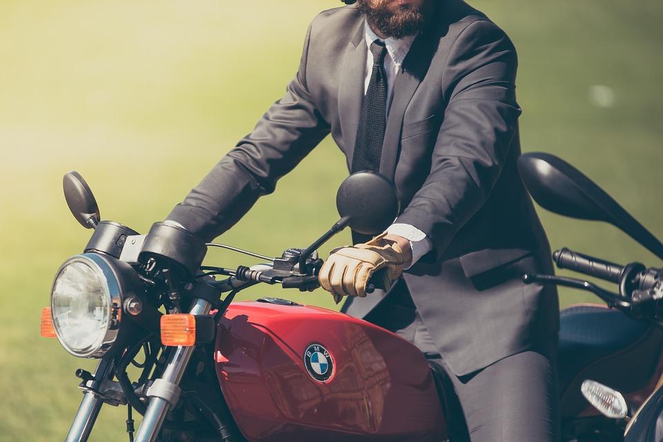 Biker in suit