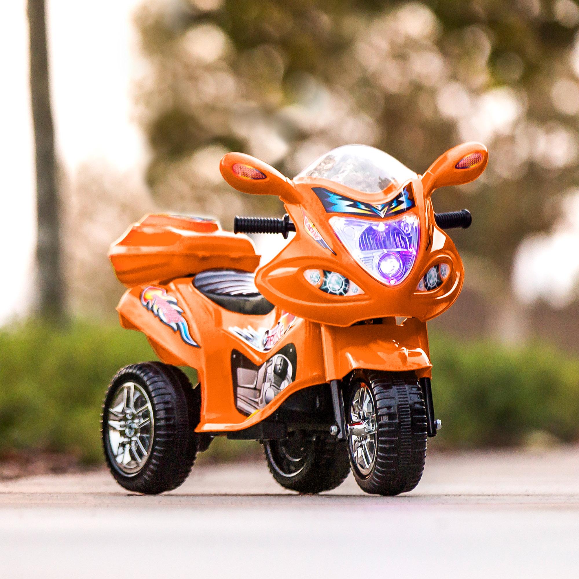 toy motorcycle ride wheel lights music 6v storage orange led bcp choice horn battery powered amazon