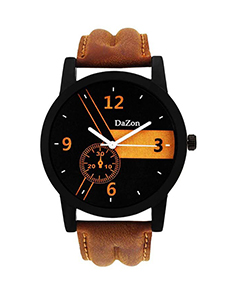 MyCross Stylish and Unique Designed Brown Leather Analog Dial Wrist Watch for Men