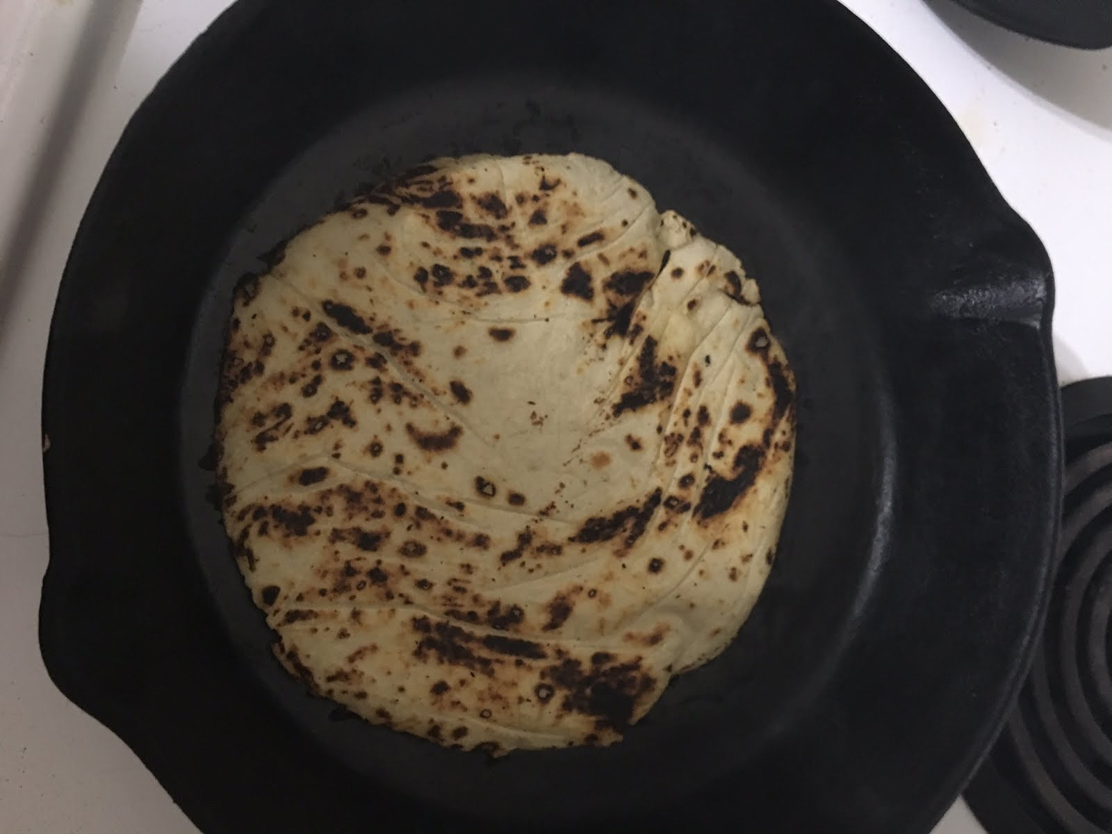 Finally It's a tortilla! you want those beautiful spots on them. Sadly only the first side will have them that perfect.