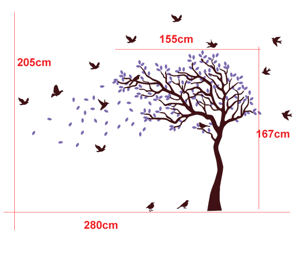 HM nursery cot side tree and birds kids wall sticker