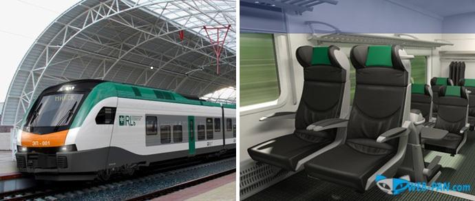 Вот такой будет вагон и поезд первого класса - в зелёном цвете, бизнес класс!
