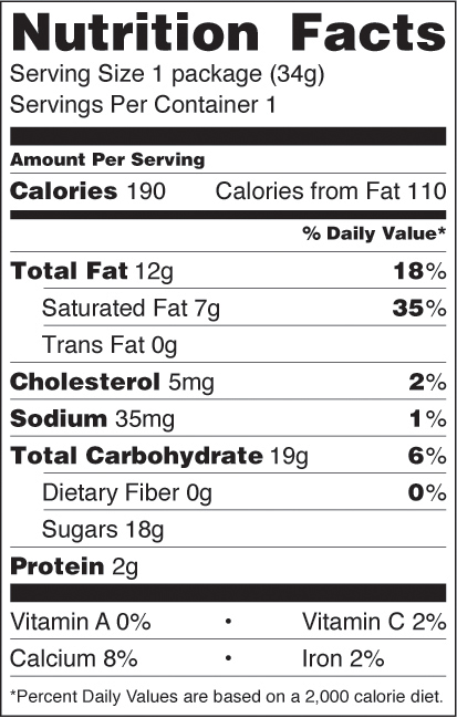 White Chocolate Cranberry Almond nutrition facts