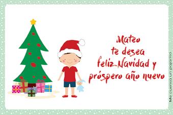 Felicitación de Navidad personalizada con niño