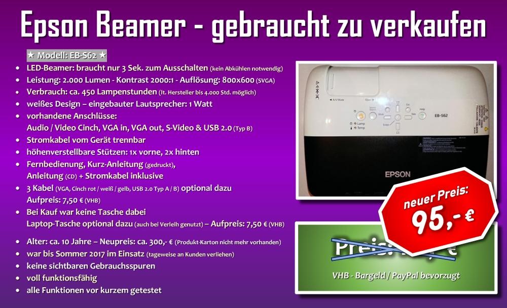 Epson EB-S62 Beamer - gebraucht zu verkaufen