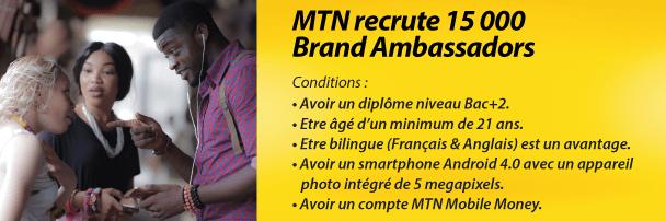 MTN recrute 15000 Brand Ambassadors: MTN Cameroun.