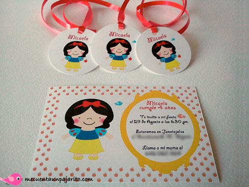 Invitaciones y etiquetas personalizadas, fiesta de cumpleaños de Blancanieves