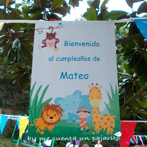 Cartel de bienvenida a la fiesta de cumpleaños del explorador de safari con animales