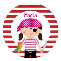 Etiqueta de cumpleaños pirata niña