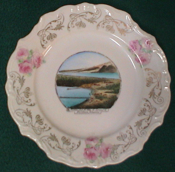 For sale: early Haines Alaska antique souvenir china               showing the town of Haines and Fort William H. Seward,               with Davidson Glacier in the background Over 100 years               old, circa 1898..