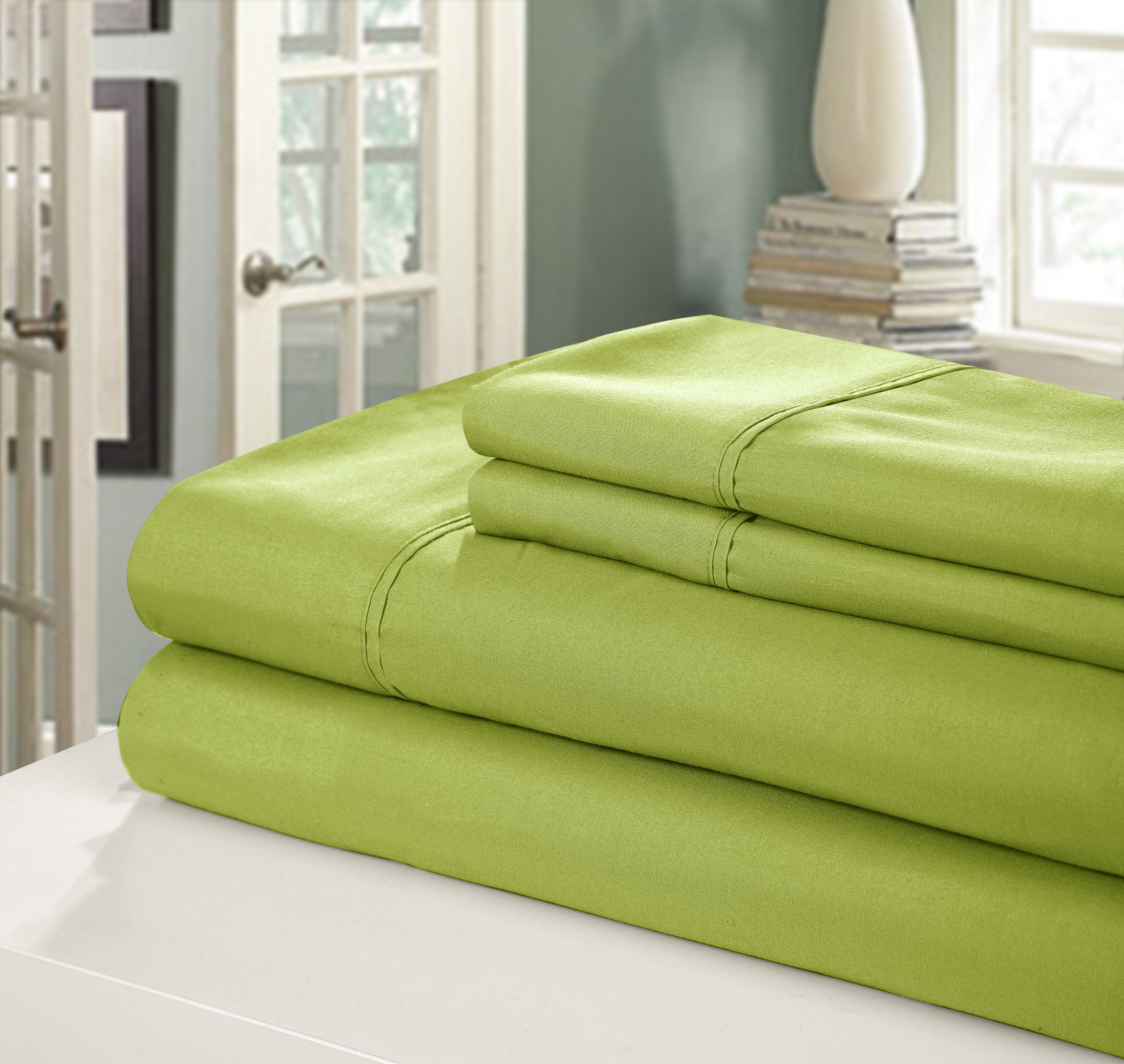 Chic Home NEW!! Chic Home 400 Series Peach Skin Microfiber 4-Piece Sheet Set Ensemble, King, Kiwi