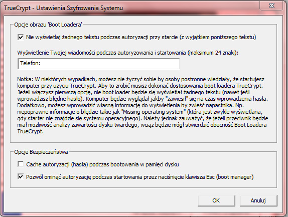 ustawienia boot loadera (boot manager) TrueCrypt