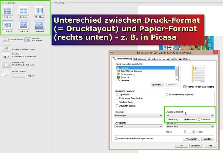 Vergleich: Papier-Größe vs. Drucklayout
