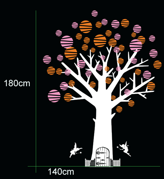 Cot side tree with Fairy door, Fairies & Polka dots removable wall decals