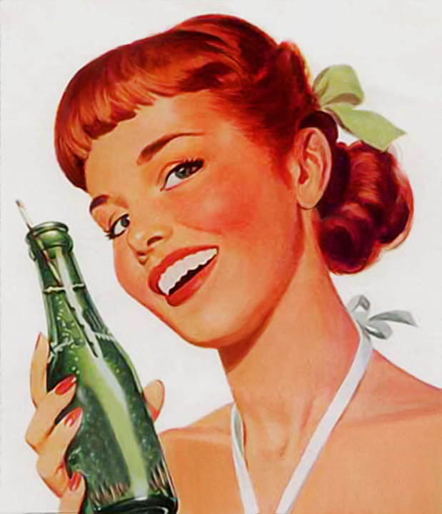 Vintage girl with soda