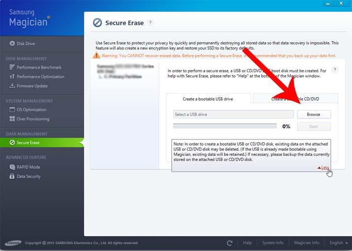 Samsung secure erase usb/cd/dvd