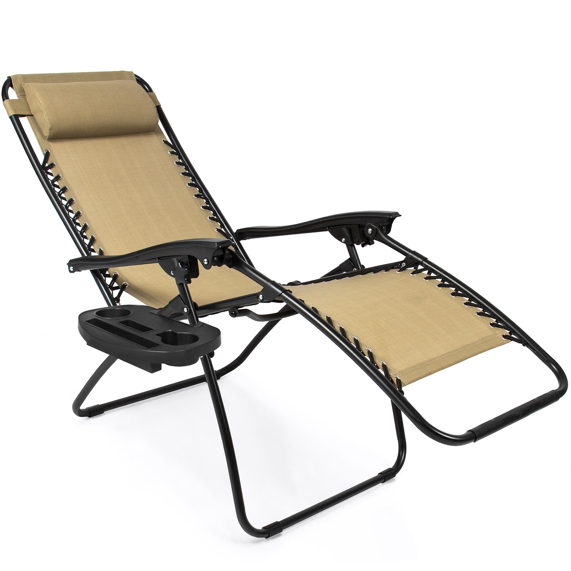 BCP-Set-of-2-Adjustable-Zero-Gravity-Patio-Chair-Recliners-w-Cup-Holders thumbnail 11