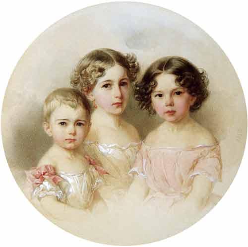 Gau V, Retrato de las hijas, acuarela