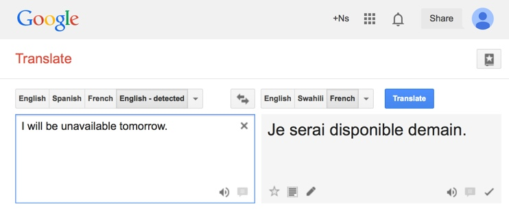 Example of Google Translate giving a result that is exactly opposite to the original meaning