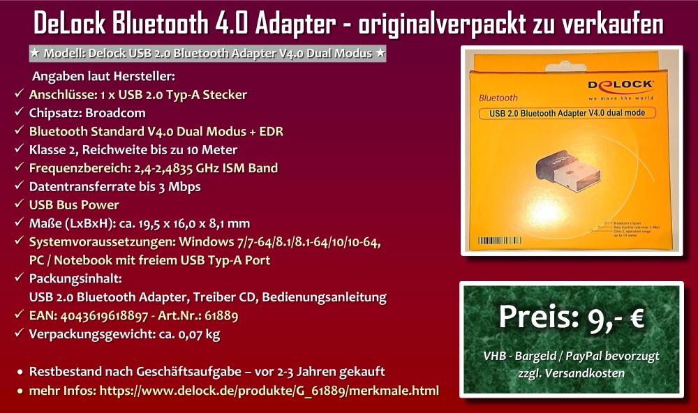 DeLock Bluetooth 4.0 Adapter - originalverpackt zu verkaufen