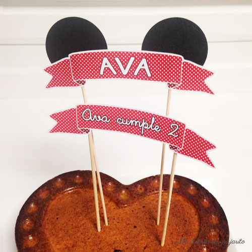banner tarta, topper tarta, minnie mouse
