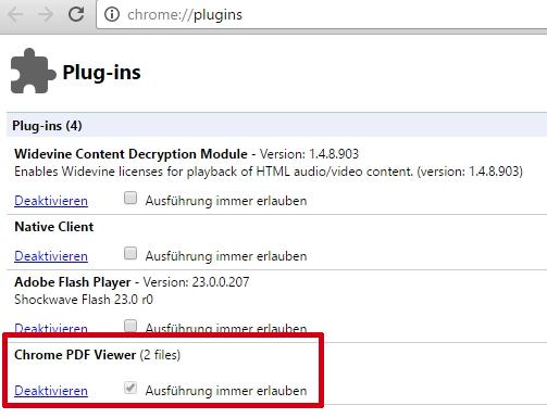 Bei den Plug-Ins ist u. a. ein Eintrag für den PDF Viewer zu finden.