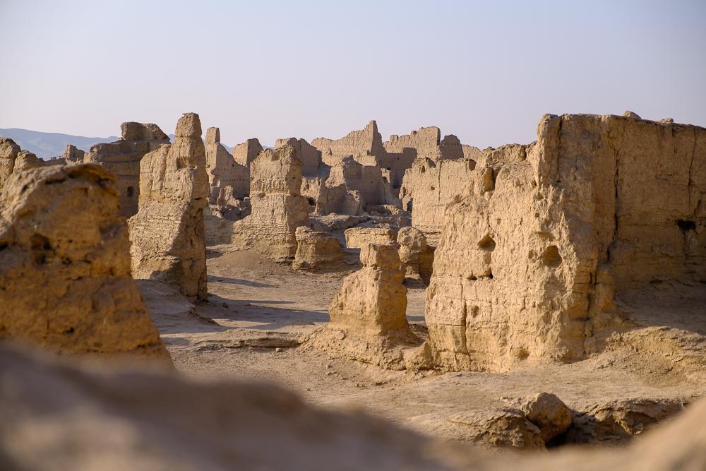 De ruïnes van Jiaohe, héél lang geleden een belangrijke stad op de zijderoute.