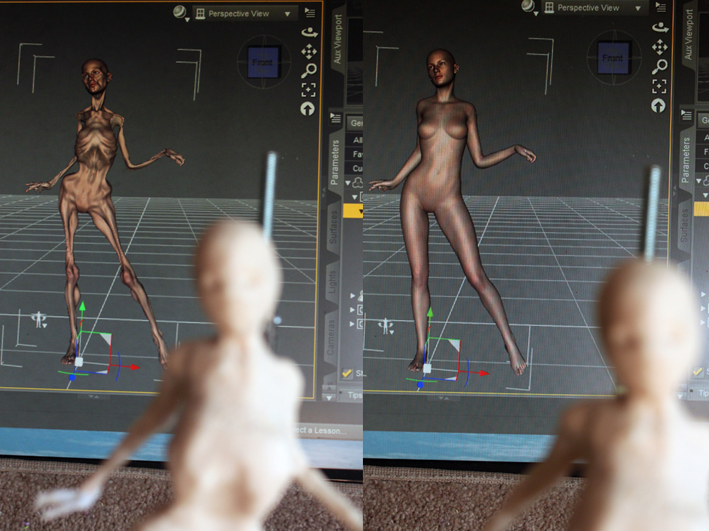 wip 2 ooak clay doll over a 3d printed armature