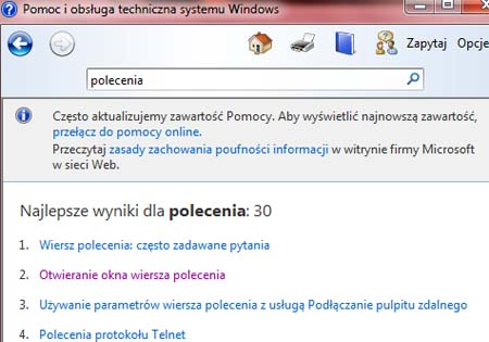Wiersz poleceń cmd.exe w pomocy systemowej Microsoft Windows