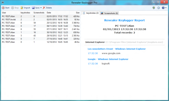 Interfejs Revealar Keylogger