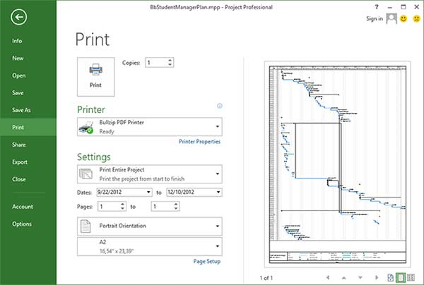 Microsft Project 2013 with Bullzip PDF Printer print preview