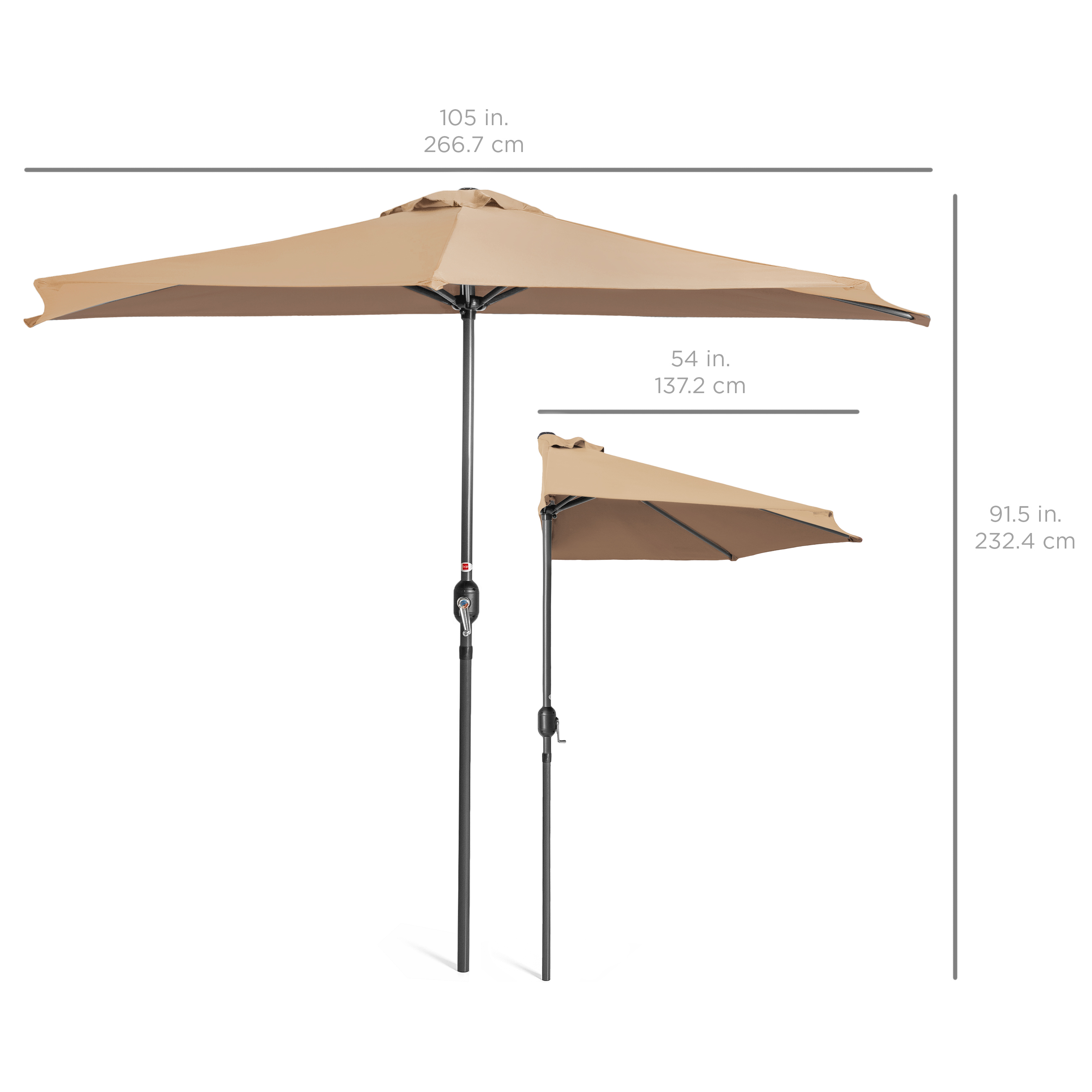 BCP-9ft-Half-Patio-Umbrella-w-Crank-Steel-Frame-UV-amp-Water-Resistant-Fabric thumbnail 36