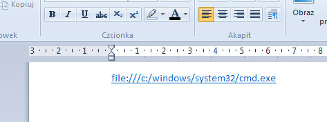 WordPad - cmd.exe, otwarcie wiersza konsoli
