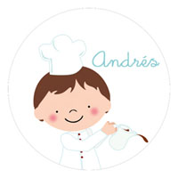 Etiqueta de cumpleaños del cocinero