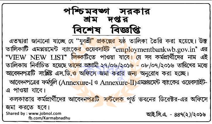 Employment Bank 6th List Notice