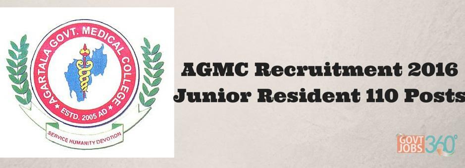 AGMC Recruitment 2016 Junior Resident 110 Posts Application Form