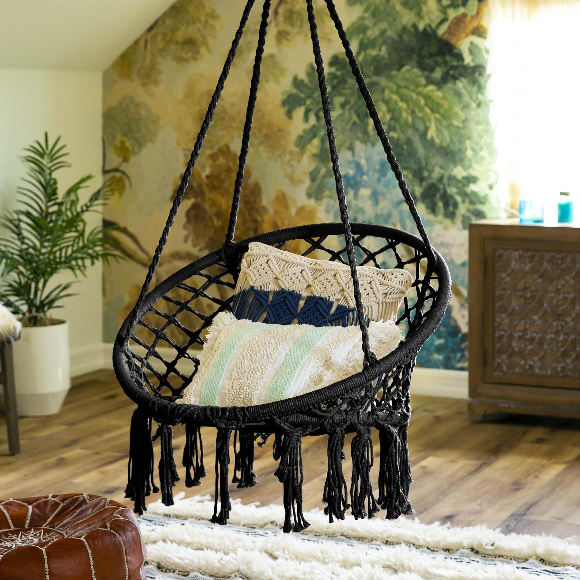 BCP-Handwoven-Cotton-Macrame-Hammock-Hanging-Chair-Swing-w-Backrest thumbnail 16