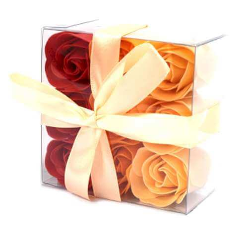set of 9 soap flowers - peach roses