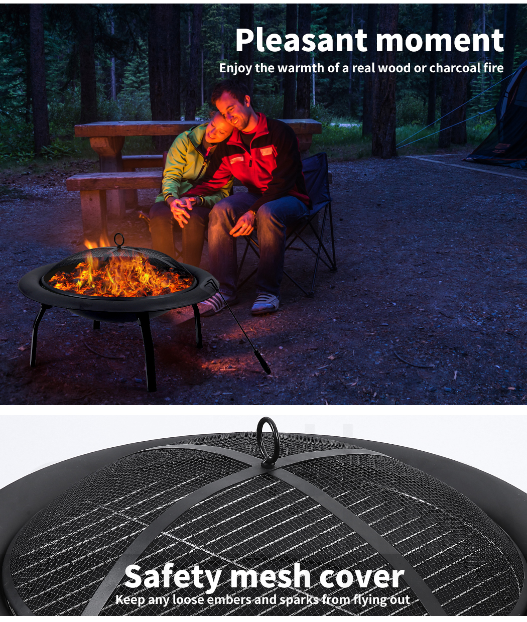 """thumbnail 26 - 22"""" 30"""" Fire Pit BBQ Grill Pits Outdoor Portable Fireplace Garden Patio Heater"""