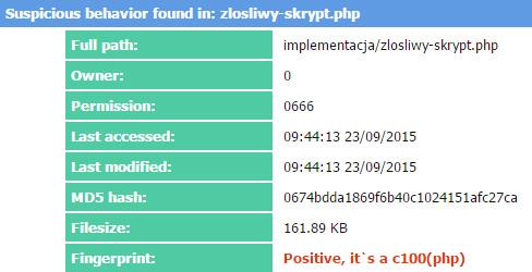 Web Shell Detector wykrył C99 Shell