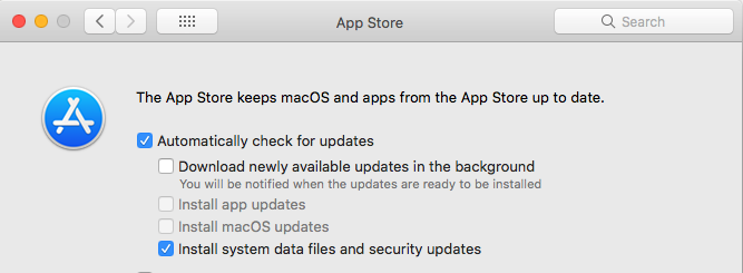 system preferences, turn off updates